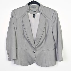 WHBM Grey ¾ Sleeve One Button Front Blazer Size 12